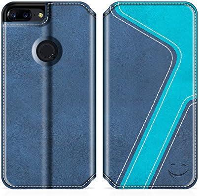 MOBESV Smiley Funda Cartera OnePlus 5T, Funda Cuero Movil OnePlus 5T Carcasa Case con Billetera/Soporte para OnePlus 5T - Azul Oscuro/Aqua