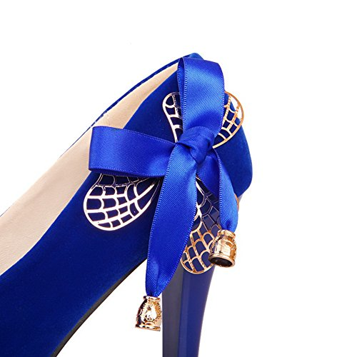VogueZone009 Women's Frosted Solid Pull On Round Closed Toe Spikes Stilettos Pumps-Shoes Blue 1njlPkWU8z