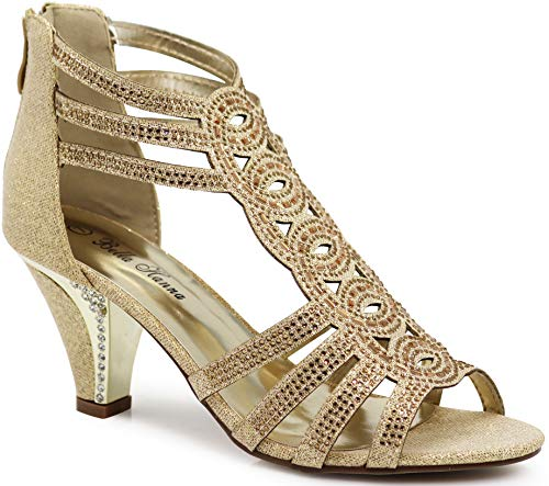 - Enzo Romeo Kinmi25N Womens Open Toe Mid Heel Wedding Rhinestone Gladiator Sandal Shoes (6 B(M) US, Gold 34)