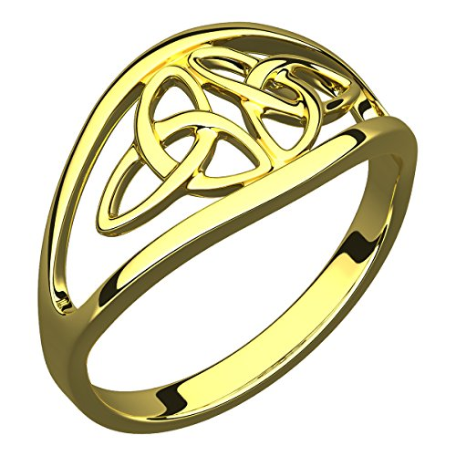 Double Trinity Knot - UPCO 14K Gold Plated Silver Ring, Double Trinity Knot - 10