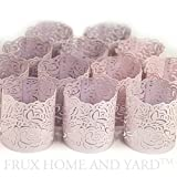 Frux Home and Yard FLAMELESS TEA LIGHT VOTIVE WRAPS- 48 Lavender colored laser cut decorative wraps for Flickering LED Battery Tealight Candles (not included)