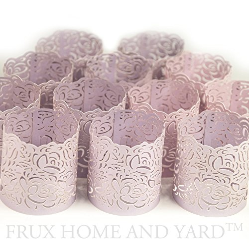 Romantic wedding reception decorations amazon frux home and yard flameless tea light votive wraps 48 lavender colored laser cut decorative wraps for flickering led battery tealight candles not junglespirit Choice Image