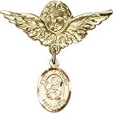 14kt Yellow Gold Baby Badge with St. Raymond Nonnatus Charm and Angel w/Wings Badge Pin 1 1/8 X 1 1/8 inches