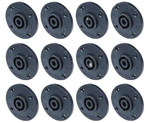 - (12 Pack) Geniune Neutrik NL4MPR Round 4-Pin Speakon Male Panel 4 Pole Connector ((12 Pack) Geniune Neutrik NL4MPR Round 4-Pin Speakon Male Panel 4 Pole Connector)