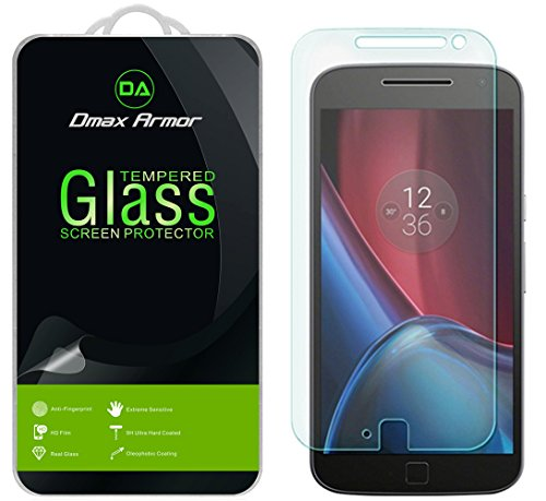 [2-Pack] Dmax Armor for Motorola Moto G4 Plus/Moto G Plus (4th Gen) Screen Protector, [Tempered Glass] 0.3mm 9H Hardness, Anti-Scratch, Anti-Fingerprint, Bubble Free, Ultra-clear