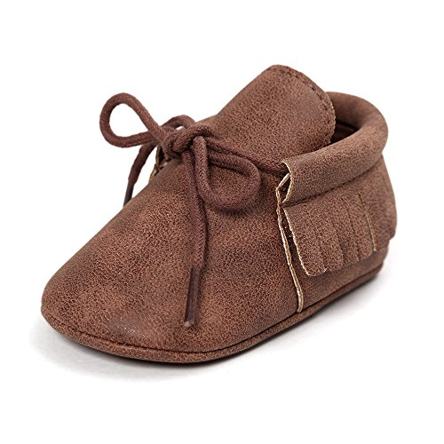 Antheron Infant Moccasins - Unisex Baby Boys Girls Soft Sole Tassels Toddler First Walker Shoes (L: 5.12 inch(12-18 Months), Z - Lace Up Brown) ()