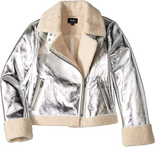 Bardot Junior Girl's Iris Metallic Biker Jacket (Big Kids) Silver ()