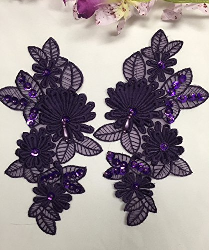2 Pairs, Gorgeous 3D floral applique pair ,Beaded,Sequined,Full stich quality,Purple, 8.5