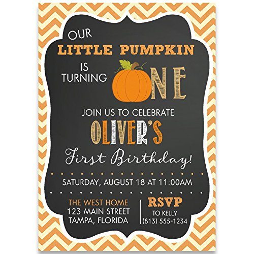 Pumpkin First Birthday Party Invitations, Chalkboard, Chevron, Stripes, Unisex, Pumpkins, Fall, Orange, Autumn, Blackboard, 10 Custom Printed Cards with Envelopes,