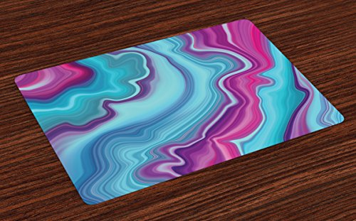 Cheap  Ambesonne Marble Place Mats Set of 4, Abstract Color Formation Wavy Aqua..