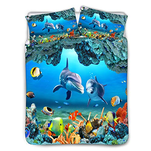 - chaqlin Bedding Sheet Sets Duvet Cover Set Bedding Decor 3 Piece Quilt Cover with 2 Pillow Shams Girls Boys Bedroom Underwater Dolphin Pattern Twin Size- Black Lining