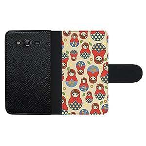 Funda carcasa de cuero para Samsung Galaxy Grand NEO Plus diseño estampado matrioska