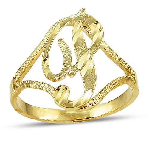 LoveBling 10K Yellow Gold Ladies Cursive Alphabet Initial Ring (P, 5)