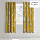 Catherine Lansfield Canterbury Easy Care Eyelet Curtains Ochre, 66x72 Inch