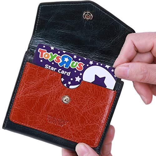 Itslife Women's Small Leather Wallet RFID Card Holder Mini Bifold Ladies Flat Pocket Purse (Waxed Dark Green & Orange) ()