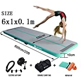 Air Track Gymnastics Tumbling Mat Inflatable Floor Mats with Electric Air Pump for Home Use/Tumble/Gym/Training/Cheerleading/Parkour/Beach/Park/Water 3.3/10/13.12/16.4/20/23-39ft (Mint Green, 20)