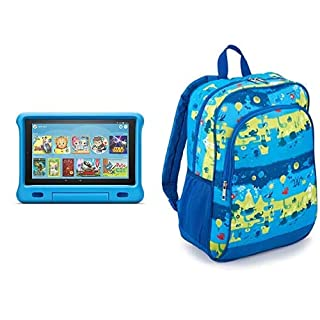 Fire HD 10 Kids Tablet 32GB Blue with Amazon Exclusive Kids Tablet Backpack, Layers