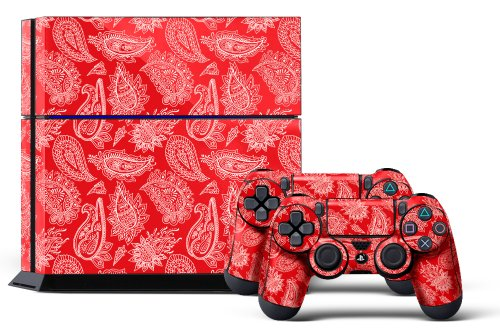Bandana Rebel (PS4 Console Designer Skin for Sony PlayStation 4 System plus Two(2) Decals for: PS4 Dualshock Controller Paisley Red)