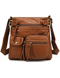 ea3d2e754fbd Ultra Soft Multi Pockets Washed Leather Accent Top Belt Crossbody Bag  Shoulder Purses for Women H1833