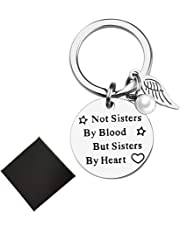 Best Friends Gifts Keychain-Not Sisters by Blood But Sisters by Heart- Friendship Quotes Stainless Steel Key Chain Attached to Bangle Bracelets Necklace (Blood Sister)