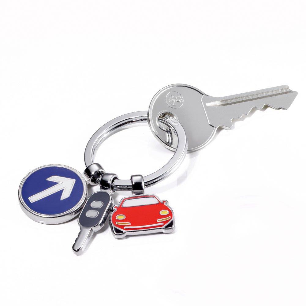 llave de coche y se/ñal de tr/ánsito metal fundido//es Llavero con 3 dijes coche