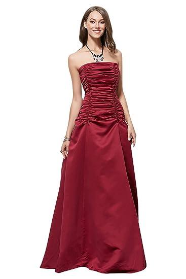 c0a9d71536b Amazon.com  Beauty-Emily Tube Sleeveless Satin Pleated Evening Dresses   Clothing