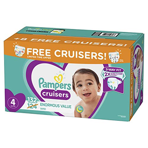 Diapers Size 4, 132 Count – Pampers Cruisers Disposable Baby Diapers, Enormous Pack, Plus Bonus Diapers