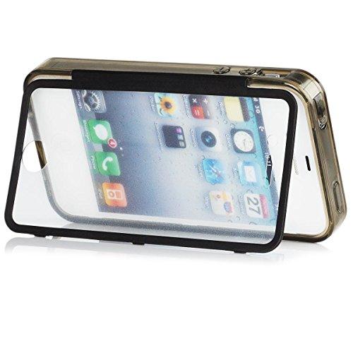 Apple iPhone 4 / 4S -iCues tactile TPU Anthracite -En plein air épais cas dur antichocs hommes LifeProof militaires garçons 360 degrés Affichage Full Body autour des deux côtés avant Gel arrière avant