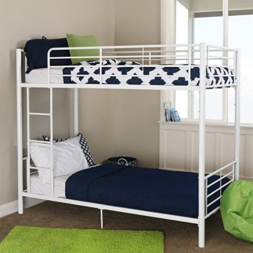 Walker Edison Twin-Over-Twin Metal Bunk Bed, White (White Twin Bed Over Twin Bunk)