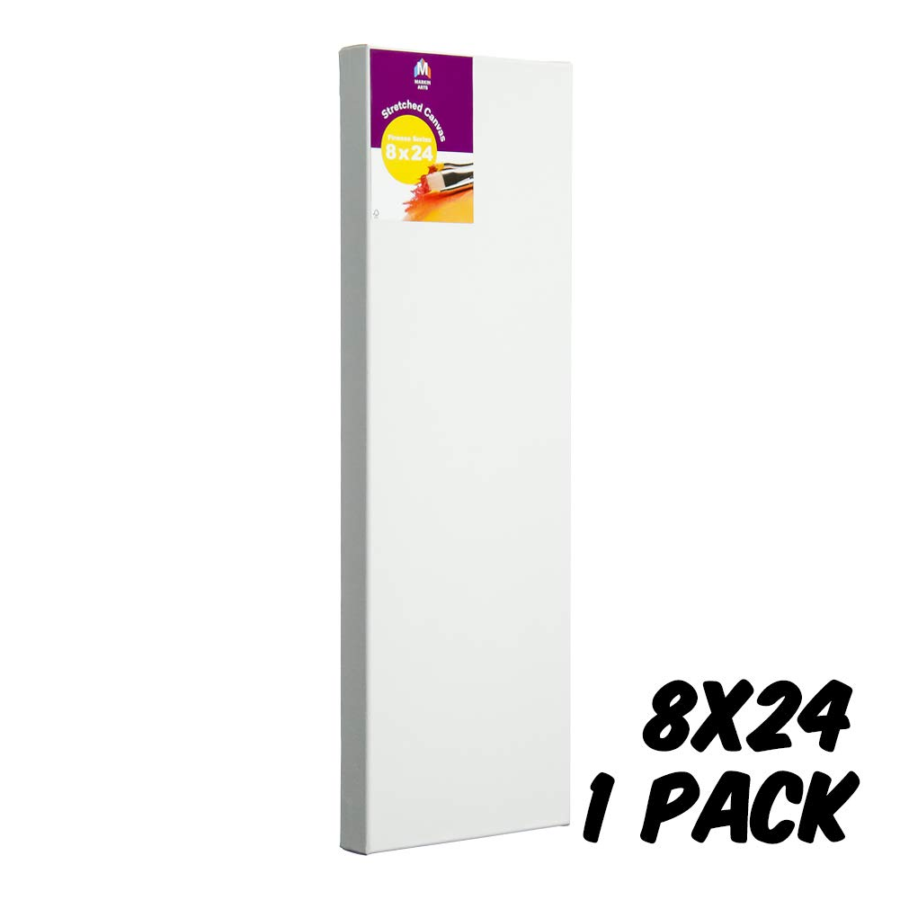 Markin Arts Finesse Series 1.5 Profile Swedish Solid Wood Acid//Discolor Free 100/% Grade A Cotton Titanium Acrylic Gesso Primed Tabletop Vertical Horizontal Long Stretched Decor Canvas 8x24 1-Pack