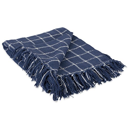 (DII 100% Cotton Checked Throw for Indoor/Outdoor Use Camping Bbq's Beaches Everyday Blanket, 50 x 60, French Blue)