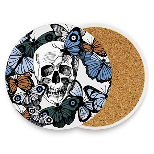 Sugar Skull Coasters, Prevent Furniture from Dirty and Scratched, Round Wood Coasters Set Suitable for Kinds of Mugs and Cups, Living Room Decorations Gift 1 ()