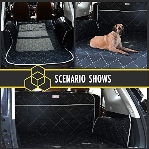 njnj Dog Cargo Cover Liner for SUVs and Car/Trucks,Extra Large Pocket with Zipper,Non-Slip 100% Waterproof Seat Cover Mat for Dogs Cats,Bumper Flap Protector,Large Size Universal Fit