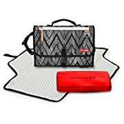 Pronto Signature Portable Changing Mat, Cushioned Diaper Changing Pad with Built-in Pillow, Zig Zag Zebra