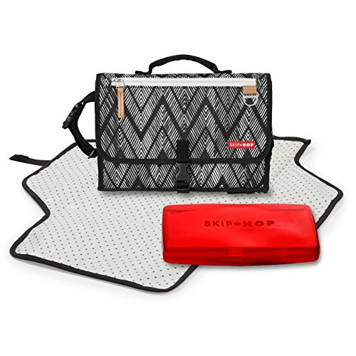 Pronto Signature Portable Changing Mat, Cushioned Diaper Changing Pad with Built-in Pillow, Zig Zag Zebra - Pad Zebra