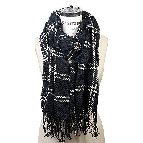 Scarfand Fringed Grid Pattern Knit Winter Scarf Wrap Shawl (Knit Wrap Pattern)