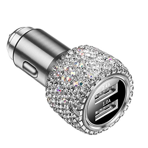 Vocalol Car Charger,Bling Diamond Rhinestone Dual USB Car Charger Adapter Compatible for iPhone Xs Max/XR/XS/X/8/7/6 Plus,Galaxy S10/S10+/S10e/Note9 (Silver) ()