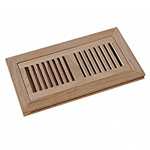 WELLAND 4 Inch x 10 Inch Red Oak Flush Mount Wood Vent Cover with Frame & Metal Damper