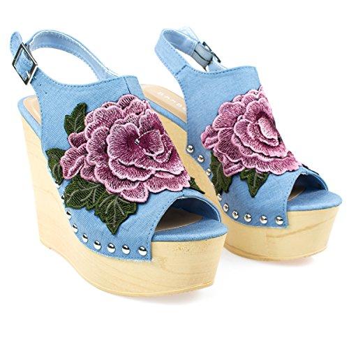 Grote Bloemen Patch Op Houten Platform Sleehak Sandaal, Metalen Vastgeschroefd Detail. Bluedenim