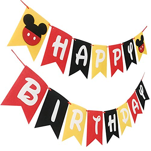 Mickey Mouse Happy Birthday Party Banner Flags for Kid Disney Birthday Party Favors Decoration. -