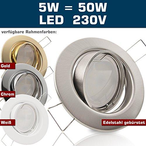 SONDERAKTION Decken Einbaustrahler DECORA; 230V; 1er Set inkl. SMD LED 5,0W = 50W (Warmweiss) & GU10-Fassung; schwenkbar; EDELSTAHL OPTIK; gebürstet; Einbauspot Spot Einbauleuchten Metall Stahl