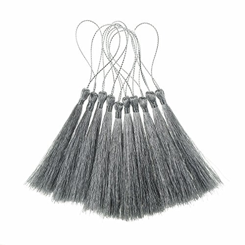 Bilipala Silver Thread Bookmark Tassels for Jewelry Making, Souvenir, Bookmarks, DIY Craft Supplies, 10 Counts