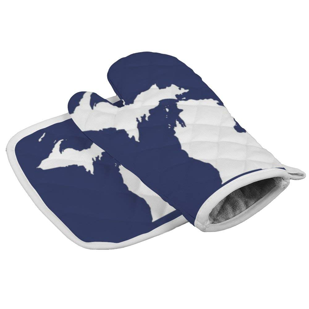 Love in Michigan State Map Oven Gloves Microwave Gloves Barbecue Gloves Kitchen Cooking Bake Heat Resistant Gloves Combination
