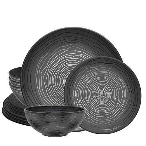 bzyoo BPA-Free Dishwasher Safe 100% Melamine Plate & Bowl Set Best for Casual dining Indoor and Outdoor Dining Party…