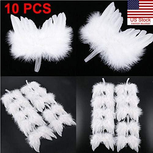 US 10PCS Angel White Feather Wing Christmas Tree Decor Hanging Ornament Wedding