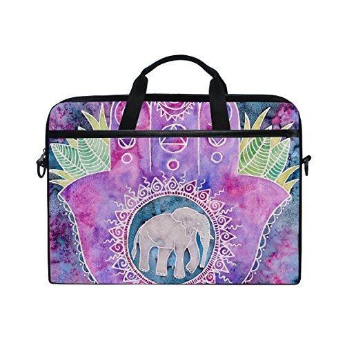Laptop Bag for Men Women Canvas Shoulder Messenger Bag with Creative Hand Print Elephant Fits 15-15.4 Inch -