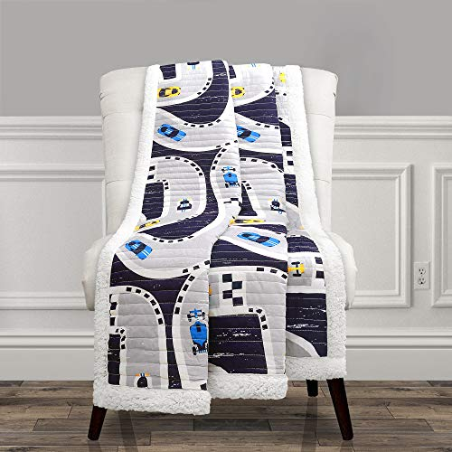 Lush Decor Car Tracks Reversible Sherpa Throw Blanket for Kids-60