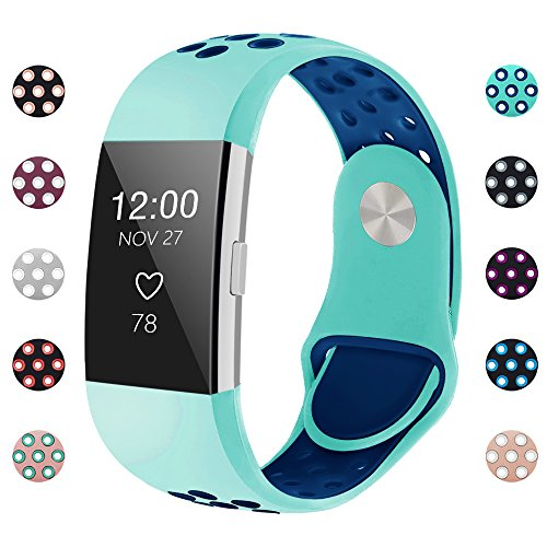 iGK Silicone Replacement Bands Compatible for Fitbit Charge 2, Adjustable Breathable Sport Strap Smartwatch Fitness Wristband with Air Holes Teal Navy Large