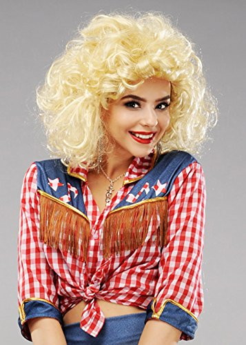 Ladies Blonde Dolly Parton Style Country Diva Wig