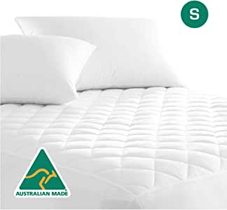 Australian Made Fully Fitted Cotton Quilted Mattress Protector Machine Washable (All Size) (Single.)